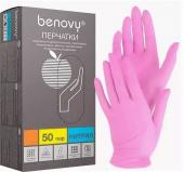 Benovy Nitrile MultiColor - перчатки нитриловые, текстурированные на пальцах, розовые, M, 50 пар